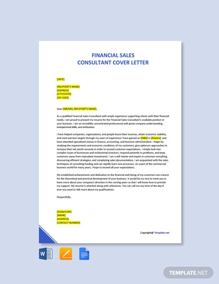 Free Financial Sales Consultant Cover Letter Template