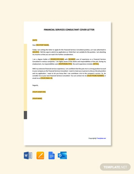 Financial Services Consultant Cover Letter Template