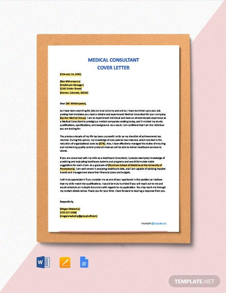 Free Medical Consultant Cover Letter Template