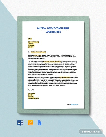 Free Medical Device Consultant Cover Letter Template