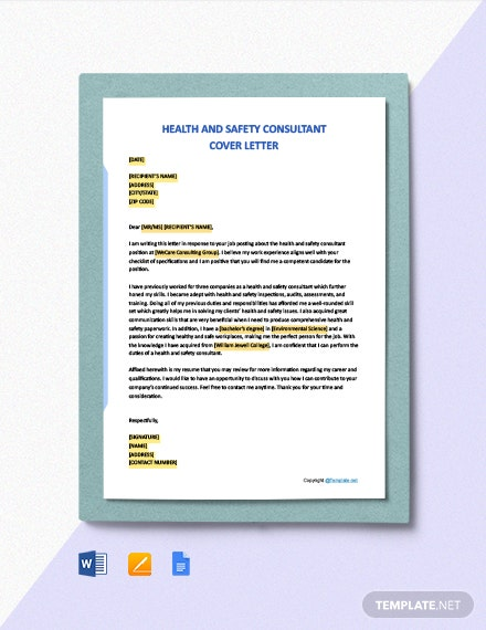 Free Health And Safety Consultant Cover Letter Template