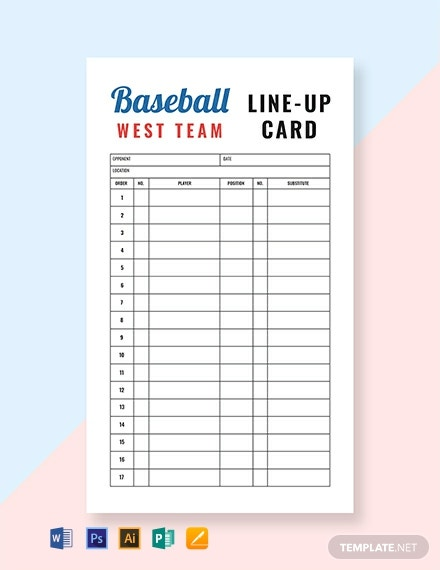 Free Baseball Line-up Card Template