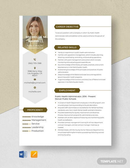 Public Health Administrator Resume Template