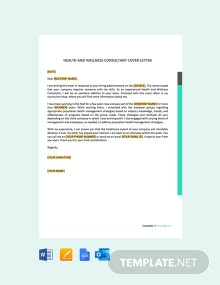 Free Health And Wellness Consultant Cover Letter Template