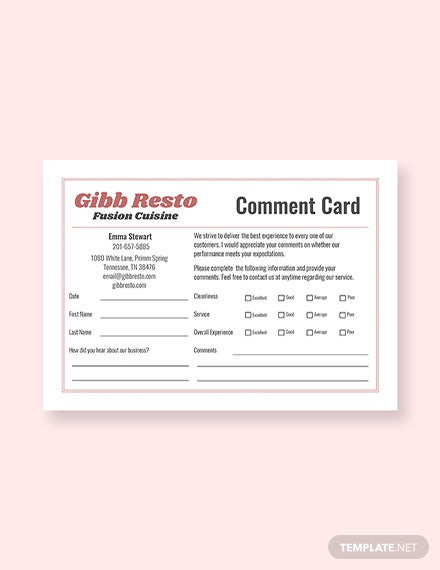 Free Sample Comment Card Template