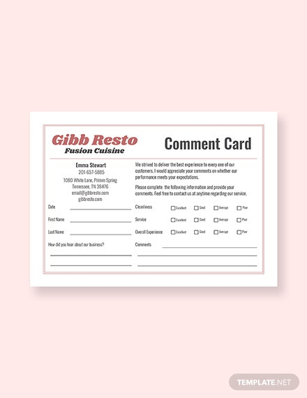 Sample Comment Card Template