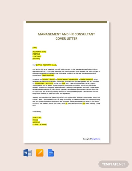 Free Management and HR Consultant Cover Letter Template