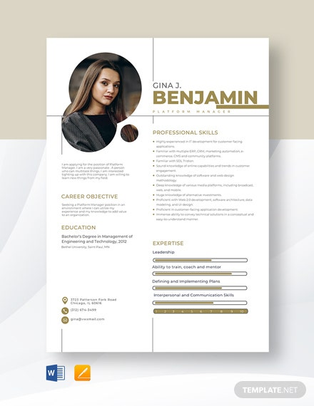 Platform Manager Resume Template