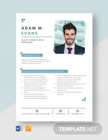 Plant Operations Manager Resume Template
