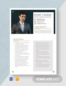 Broadcast Operations Manager Resume Template