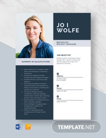 Broadcast Project Manager Resume Template