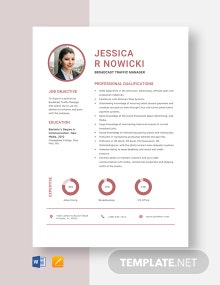 Broadcast Traffic Manager Resume Template