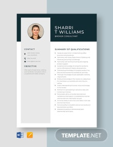 Broker Consultant Resume Template