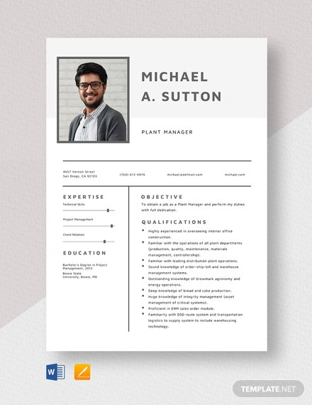 Plant Manager Resume Template