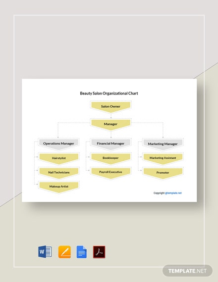 Free Beauty Salon Organizational Chart Template