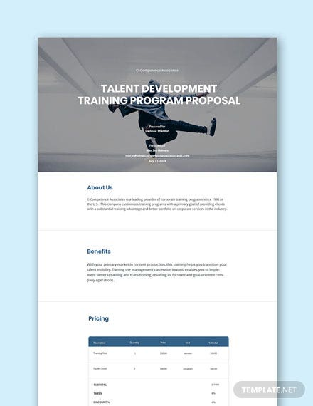Free Training Program Proposal Template