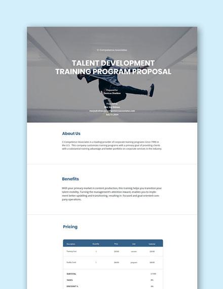Free Training Program Proposal Template