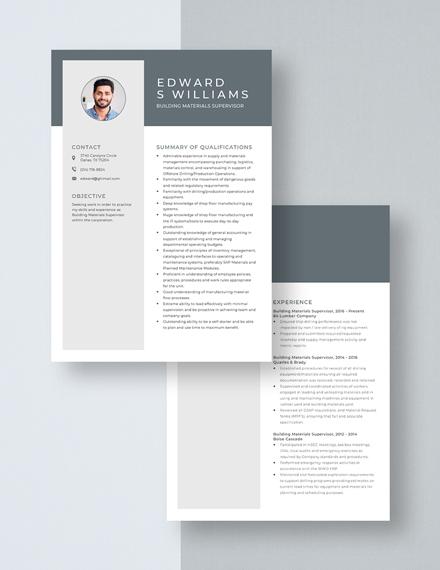 Building Materials Supervisor Resume Download