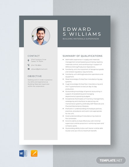 Building Materials Supervisor Resume Template