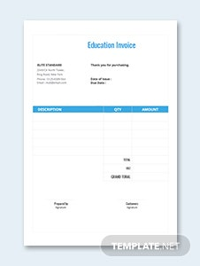 Education Invoice Template