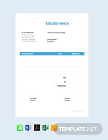 Free Education Invoice Template