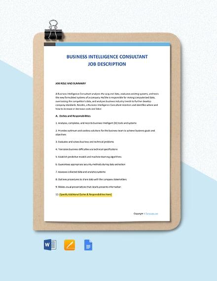Free Business Intelligence Consultant Job Description Template