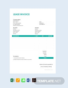Free Lease Invoice Template