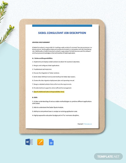 Free Siebel Consultant Job Description Template
