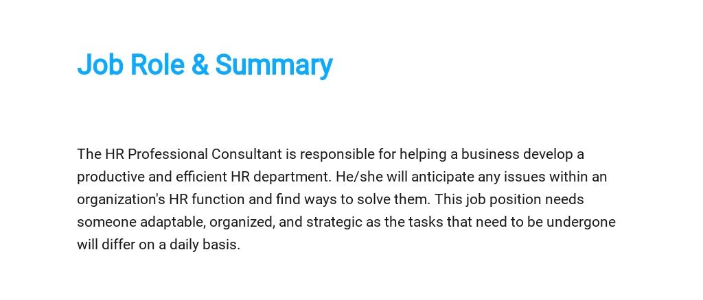 Free HR Professional Consultant Job Description Template 2.jpe