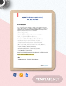 Free HR Professional Consultant Job Description Template