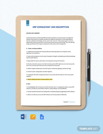 Free ERP Consultant Job Description Template