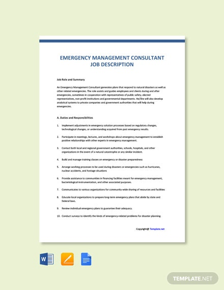 Free Emergency Management Consultant Job Description Template