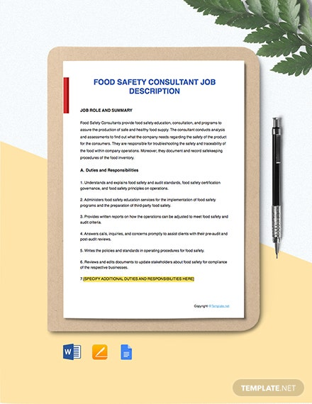 Free Food Safety Consultant Job Description Template