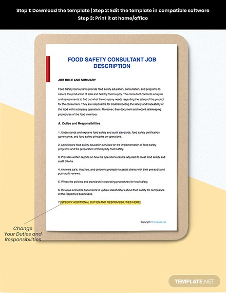 Free Food Safety Consultant Job Description Template Word Apple Pages Google Docs Template Net
