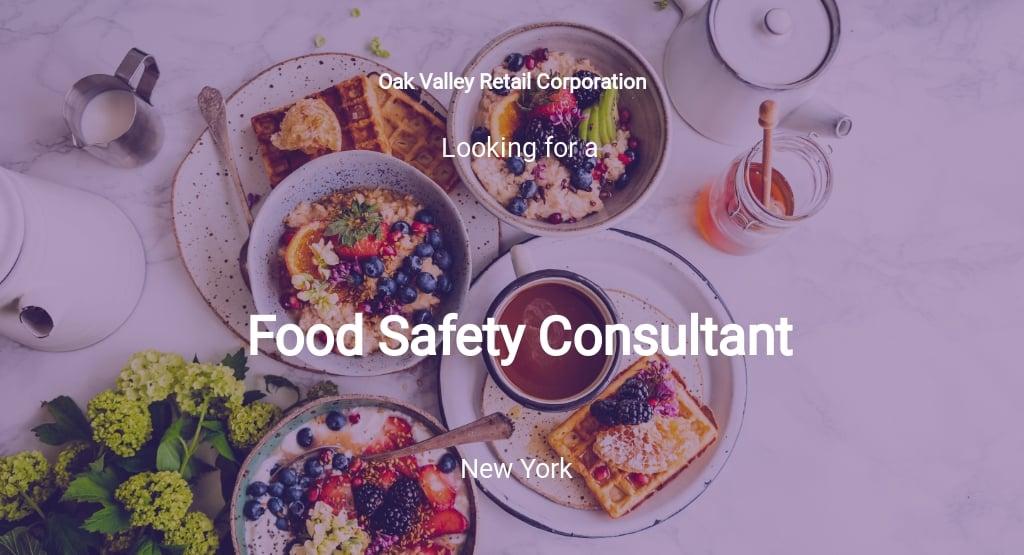 Food Safety Consultant Job Description Template