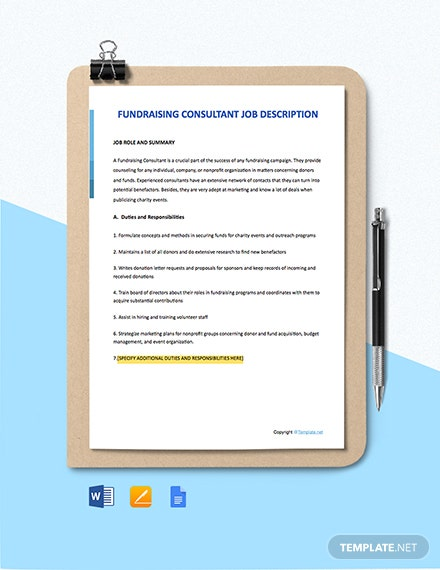 Free Fundraising Consultant Job Description Template