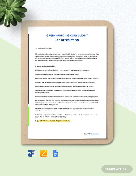 Free Green Building Consultant Job Description Template