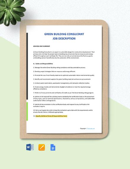 Free Green Building Consultant Job Description Template