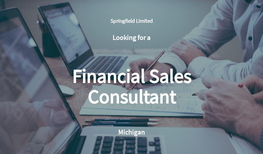 Financial Sales Consultant Job Description Template