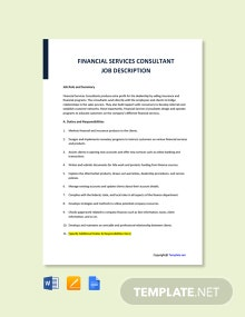 Free Financial Services Consultant Job Description Template