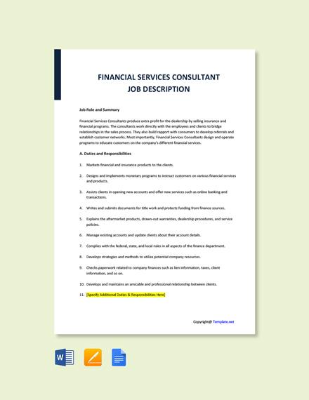 Free Financial Services Consultant Job Description Template