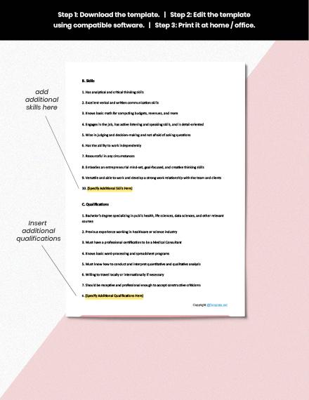 Free Medical Consultant Job Description Download