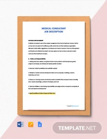 Free Medical Consultant Job Description Template