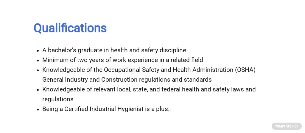Free Health And Safety Consultant Job Description Template 5.jpe
