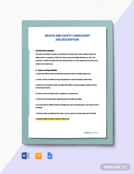 Free Health And Safety Consultant Job Description Template