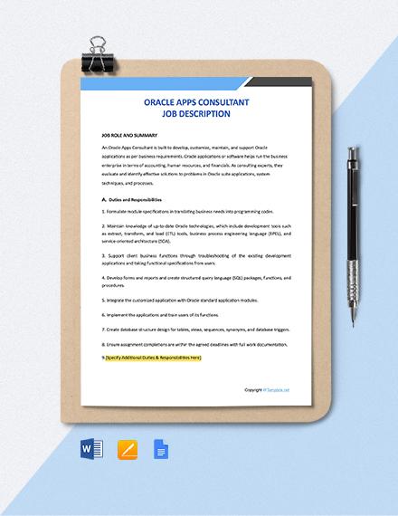 Free Oracle Apps Consultant Job Description Template