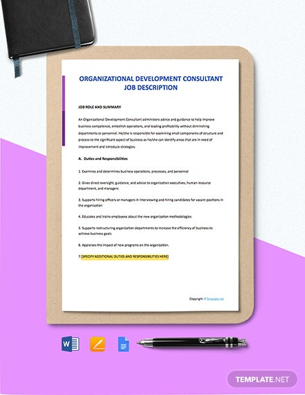 Free Organizational Development Consultant Job Ad/Description Template