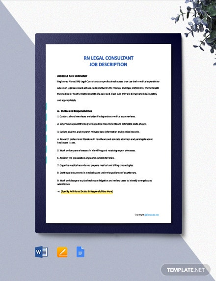 Free RN Legal Consultant Job Description Template