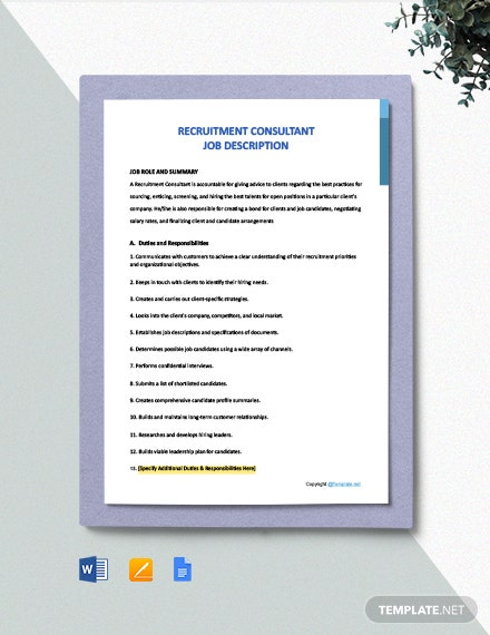 Free Recruitment Consultant Job Description Template