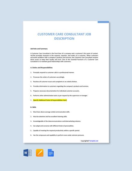 Free Customer Care Consultant Job Description Template